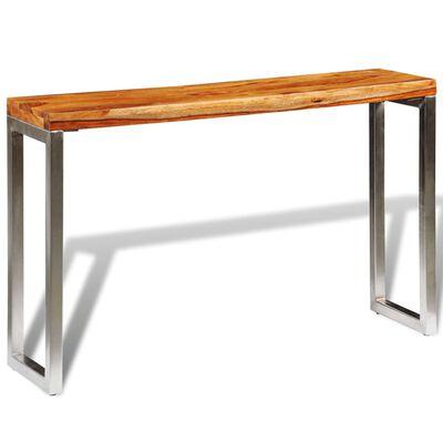 vidaXL Mesa consola de madera de sheesham maciza y patas de acero