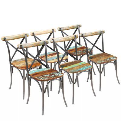 vidaXL Sillas de comedor 6 unidades madera maciza reciclada