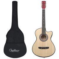 """vidaXL Set guitarra acústica occidental cutaway 12 pzas 6 cuerdas 38"""""""