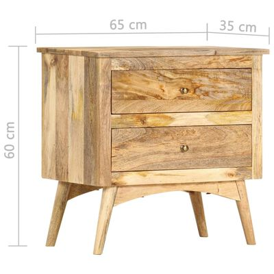 vidaXL Mesita de noche de madera maciza de mango 65x35x60 cm