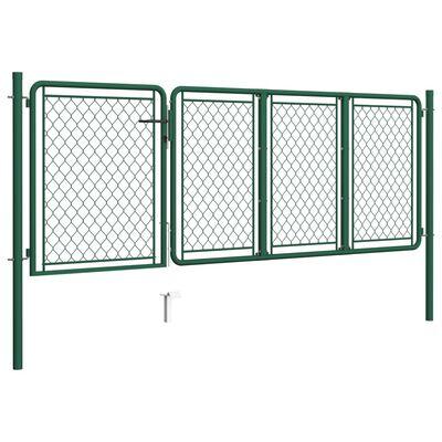 vidaXL Puerta de jardín de acero verde 75x350 cm