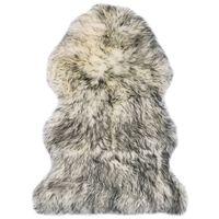 vidaXL Alfombra de piel de oveja mezcla de gris oscuro 60x90 cm