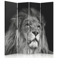 Biombo Black And White Lion - Separador de Ambientes