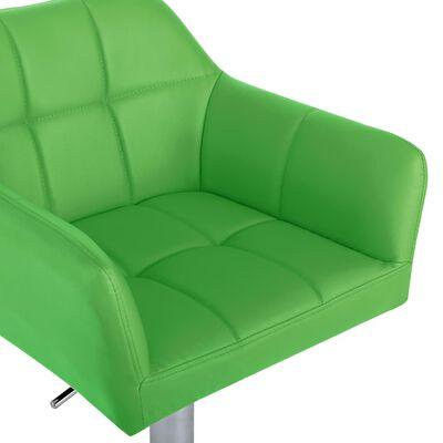 vidaXL Taburetes de cocina 2 uds reposabrazos cuero sintético verde