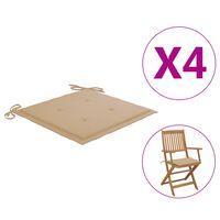 vidaXL Cojines para sillas de jardín 4 unidades beige 40x40x3 cm