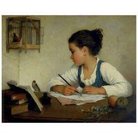 Cuadro Lienzo - Una Niña Escribiendo - Henriette Browne