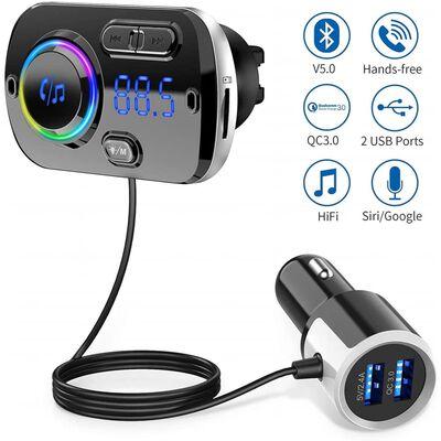 Transmisor FM inalámbrico para coche, bluetooth 5.0 - negro