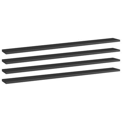 vidaXL Estantes estantería 4 uds aglomerado negro brillo 100x10x1,5 cm