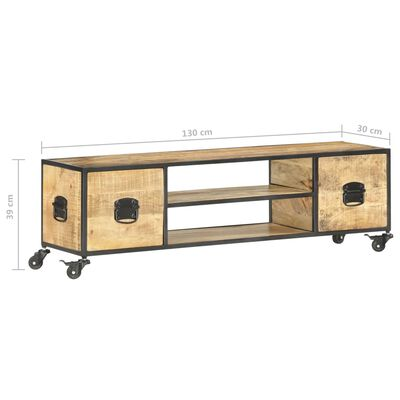vidaXL Mueble para TV de madera maciza de mango 130x30x39 cm