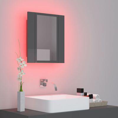 vidaXL Armario espejo de baño con luz LED gris brillante 40x12x45 cm