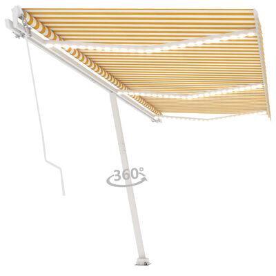 vidaXL Toldo manual retráctil con LED amarillo y blanco 600x350 cm