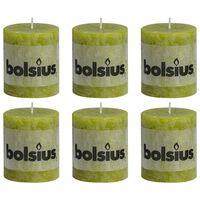 Bolsius Velas rústicas 6 unidades verde musgo 80x68 mm