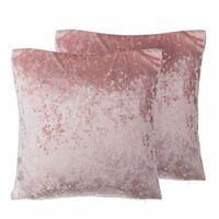 Conjunto de 2 cojines decorativos en teciopelo rosa 45x45 cm HOSTA