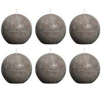 Bolsius Velas rústicas de bola gris taupe 6 unidades 80 mm
