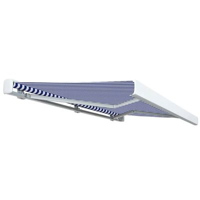 vidaXL Toldo de carrete motorizado azul y blanco 350x250 cm