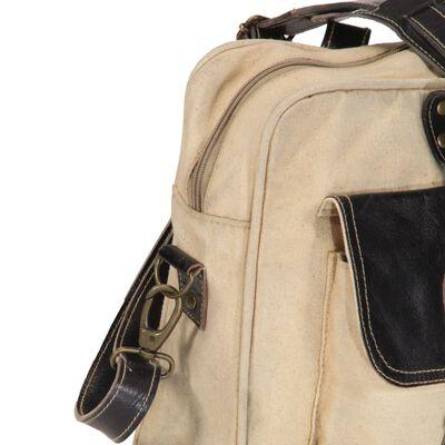 vidaXL Bolso de mano beige 40x53 cm lona y cuero real