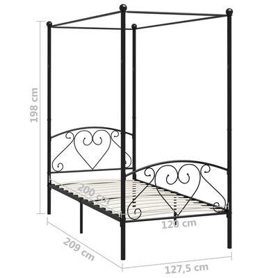 vidaXL Estructura de cama con dosel metal negro 120x200 cm