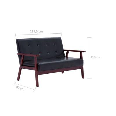 vidaXL Sofá de 2 plazas cuero sintético negro