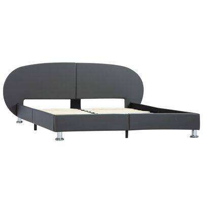 vidaXL Estructura de cama de cuero sintético gris 160x200 cm