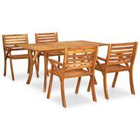 vidaXL Juego de comedor para jardín 5 piezas madera maciza de acacia