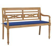 vidaXL Banco Batavia madera maciza de teca con cojín azul royal 150 cm