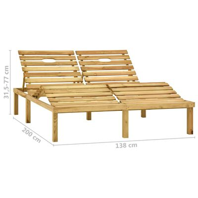 vidaXL Tumbona doble y cojines madera pino impregnada gris