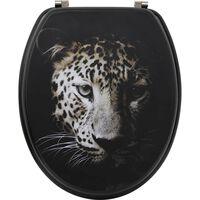 Asiento De Inodoro Negro De Mdf - Negro Con Leopardo - 18 Pulgadas -