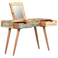 vidaXL Tocador con espejo de madera maciza reciclada 112x45x76 cm