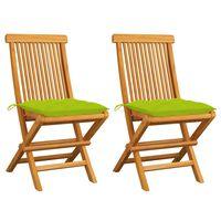 vidaXL Sillas de jardín 2 uds madera teca con cojines verde brillante