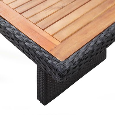 vidaXL Set comedor jardín 9 pzas ratán sintético y madera acacia negro