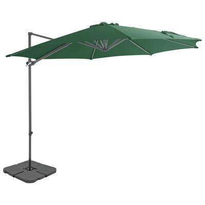 vidaXL Sombrilla de jardín con base portátil verde