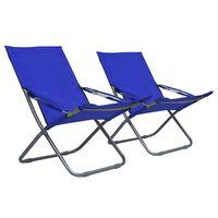 vidaXL Sillas de playa plegables 2 unidades tela azul