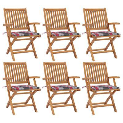 vidaXL Sillas de jardín plegables 6 uds madera maciza teca con cojines