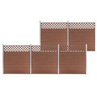 vidaXL Set de 5 vallas cuadradas WPC marrón 872x185 cm