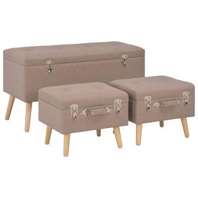vidaXL Taburetes de almacenamiento 3 piezas marrón de tela