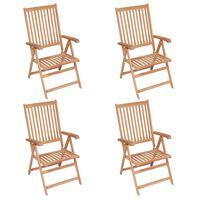 vidaXL Sillas de jardín reclinables 4 unidades madera maciza de teca