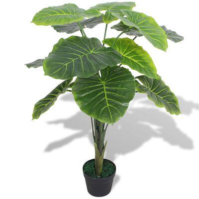 vidaXL Planta de taro artificial con macetero 70 cm verde