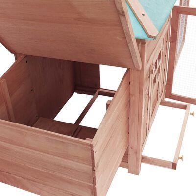 vidaXL Gallinero con ponedero madera maciza de abeto moca 193x68x104cm