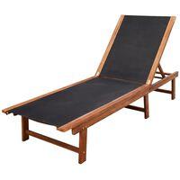 vidaXL Tumbona de madera maciza de acacia y textileno