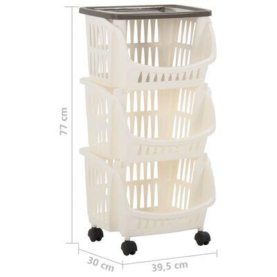 vidaXL Carrito de cocina blanco y gris taupe