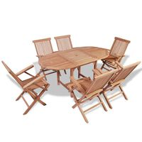 vidaXL Conjunto de comedor de jardín 5 piezas madera maciza de teca