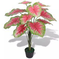 vidaXL Planta de caladium artificial con macetero 70 cm verde y roja