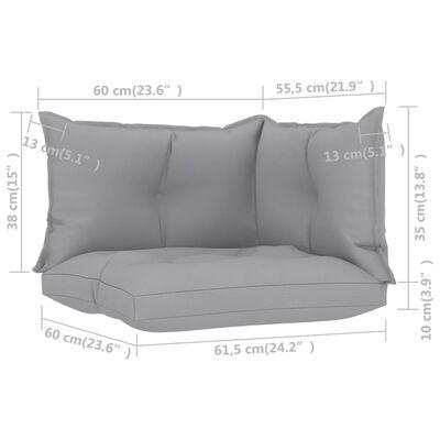 vidaXL Cojines para sofá de palets 3 unidades tela gris
