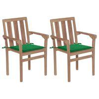 vidaXL Sillas de jardín 2 unidades con cojines verde madera de teca