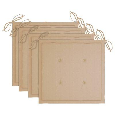 vidaXL Sillas de jardín apilables 4 uds madera de teca con cojines