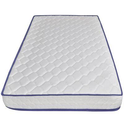 vidaXL Cama con LED y colchón viscoelástico tela azul 140x200 cm