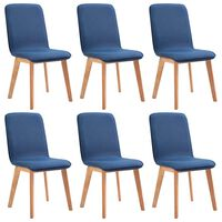 vidaXL Sillas de comedor 6 uds tela azul y madera maciza de roble