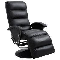 vidaXL Sillón reclinable para TV de cuero sintético negro