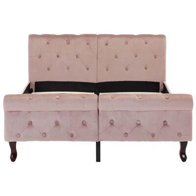 vidaXL Estructura de cama de terciopelo rosa 120x200 cm