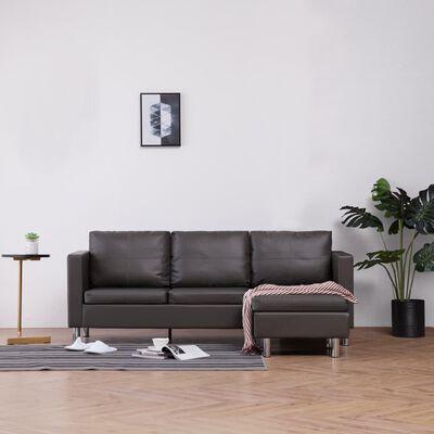 vidaXL Sofá de 3 plazas con cojines piel sintética gris